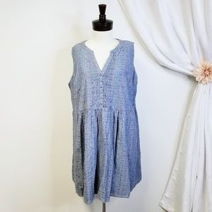 MODCLOTH Chambray Rainbow Dot Pintuck Dress *FLAW*